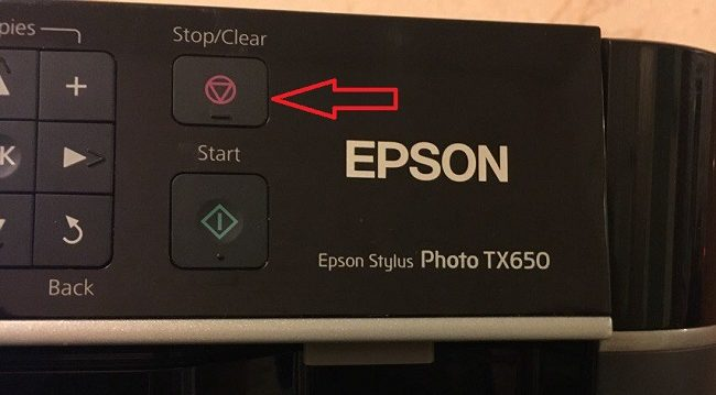 кнопка отмены на принтере epson