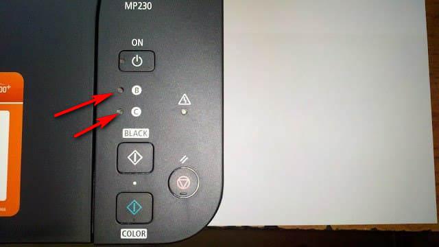 инидкатор уровня чернил на принтере canon